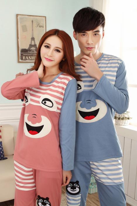 韩版新款春季睡衣甜美家居服可爱卡通情侣睡衣套装