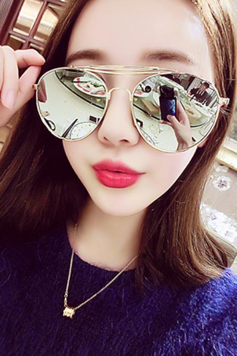 【2016明星同款大框韩国彩膜反光偏光太阳眼镜】