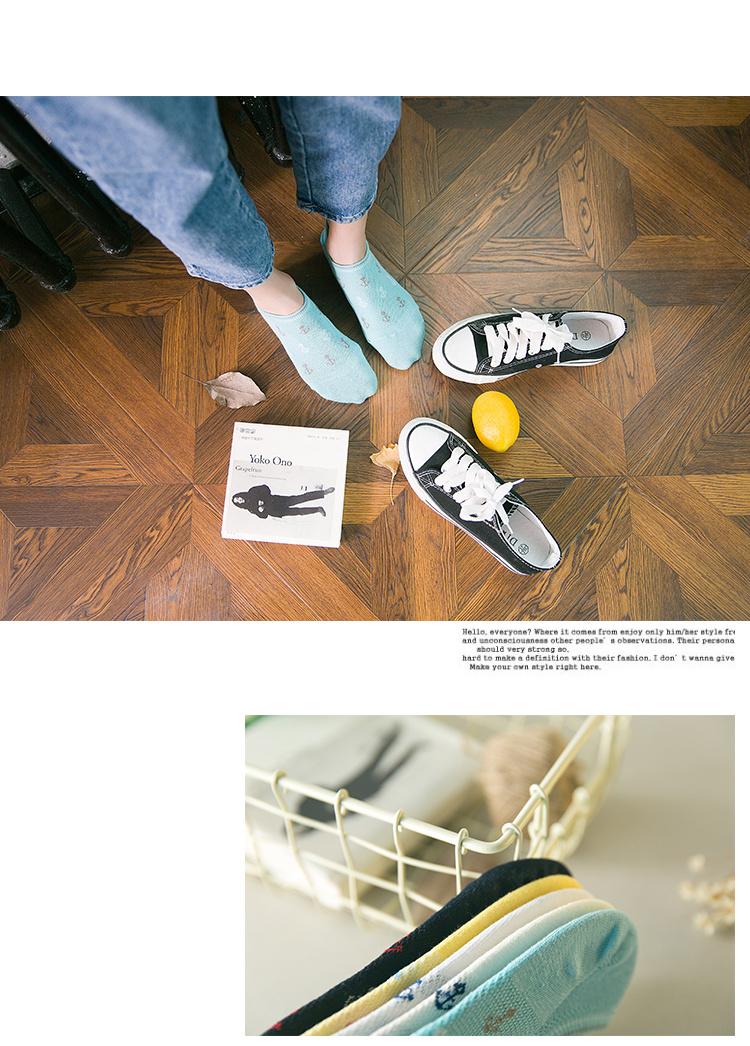 5双装 日系全棉船袜女士船锚海锚短袜隐形袜