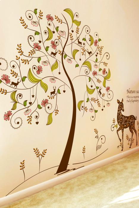 【彩色树梅花鹿墙贴画】-家居-贴饰