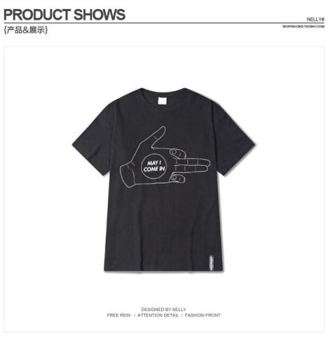 中性 个性嘻哈手势t恤