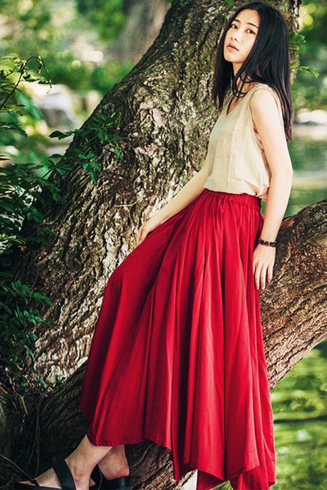 梅子熟了 春秋复古文艺棉麻大摆a字伞裙 森系红色半身裙长裙女