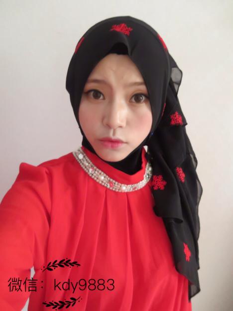 穆斯林纱巾,这款长纱戴法各异, -无类目 海大大NO1的小店 蘑菇街优图片