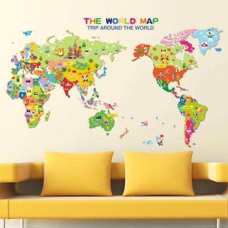 卡通动物世界地图 儿童房幼儿园家装饰贴画