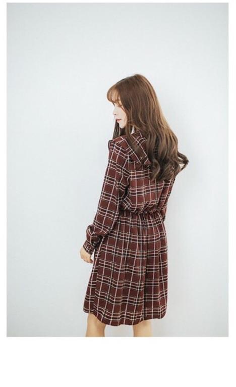 韩国原单翻版 复古欧式格子连衣裙 荷叶领灯笼袖百褶雪纺裙子