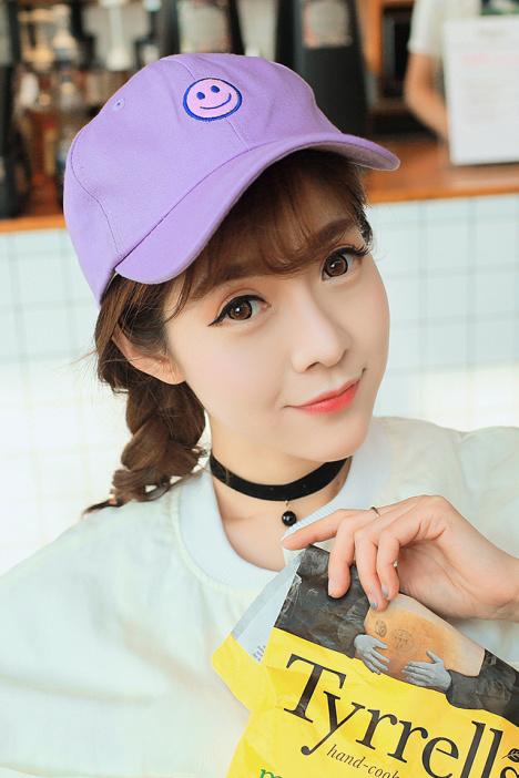 林小宅紫色笑脸鸭舌帽子韩国卡通弯檐遮阳