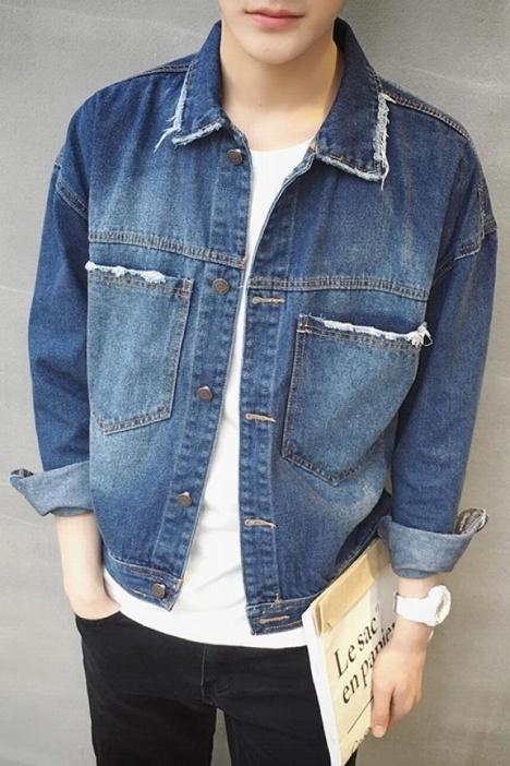 2016春夏男装落肩款牛仔夹克外套潮图片