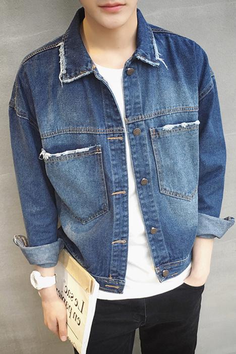 【劳尔家】2016春夏韩版落肩款牛仔外套图片