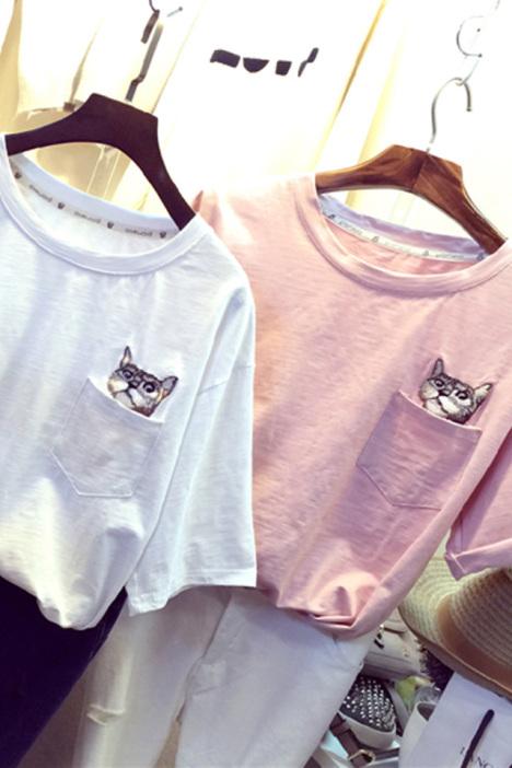 【小猫咪图案刺绣舒适宽松百搭t恤】-衣服-服饰鞋包
