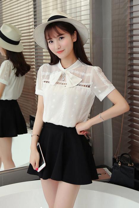 【韩版蝴蝶结领雪纺衬衫】-衣服-服饰鞋包