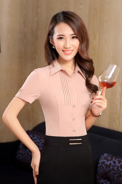 云之蝶夏装新款职业装女装短袖套裙衬衫套装大码工作服衬衣打底衫