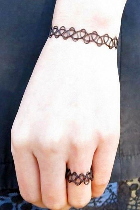 【原宿风纹身手链项链戒指三件套】-配饰-配饰