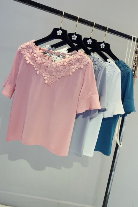 【花边领喇叭袖蕾丝雪纺衫】-衣服-雪纺衫/蕾丝衫