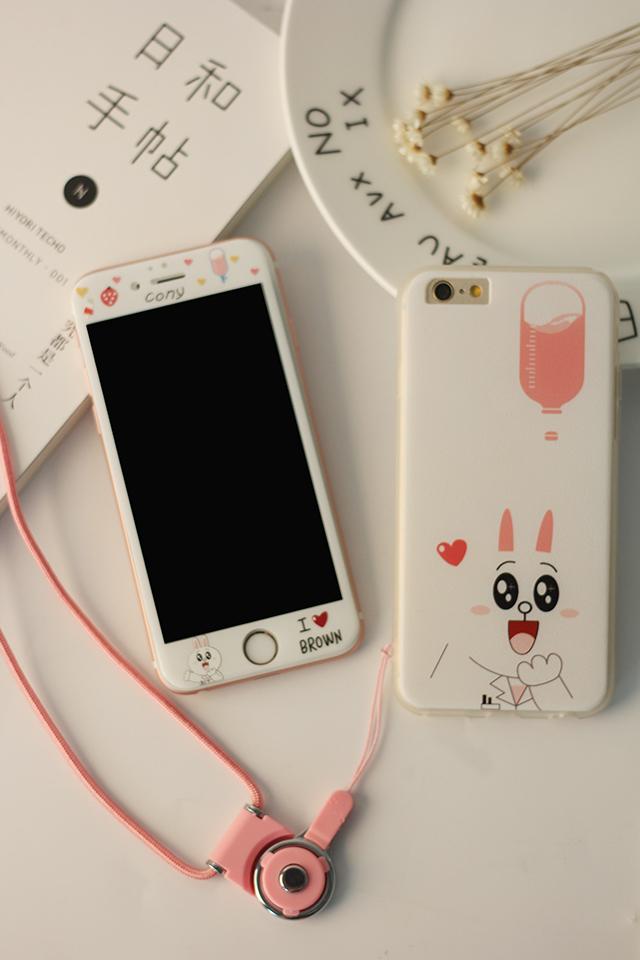 苹果全屏钢化膜可爱卡通布朗熊可妮兔iphone6s情侣手机壳