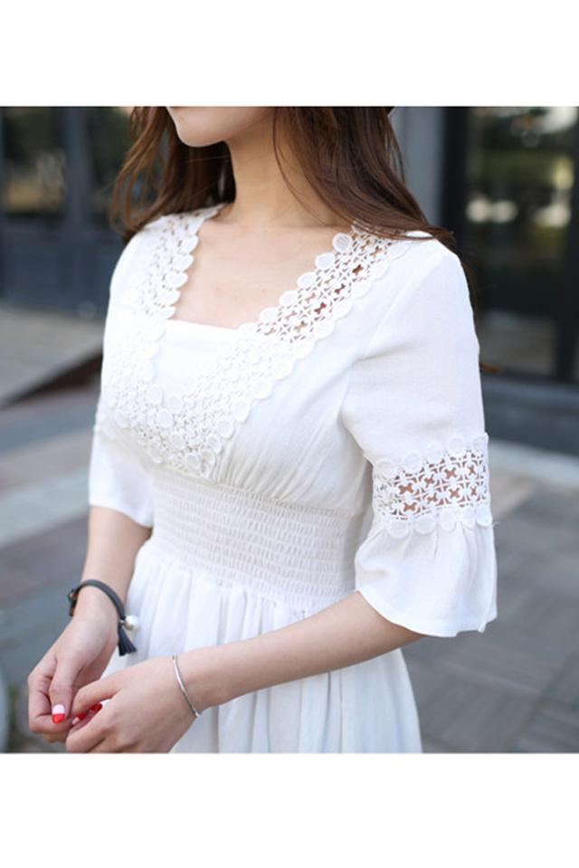 【新品韩版白色花边短袖连衣裙】-衣服-裙子