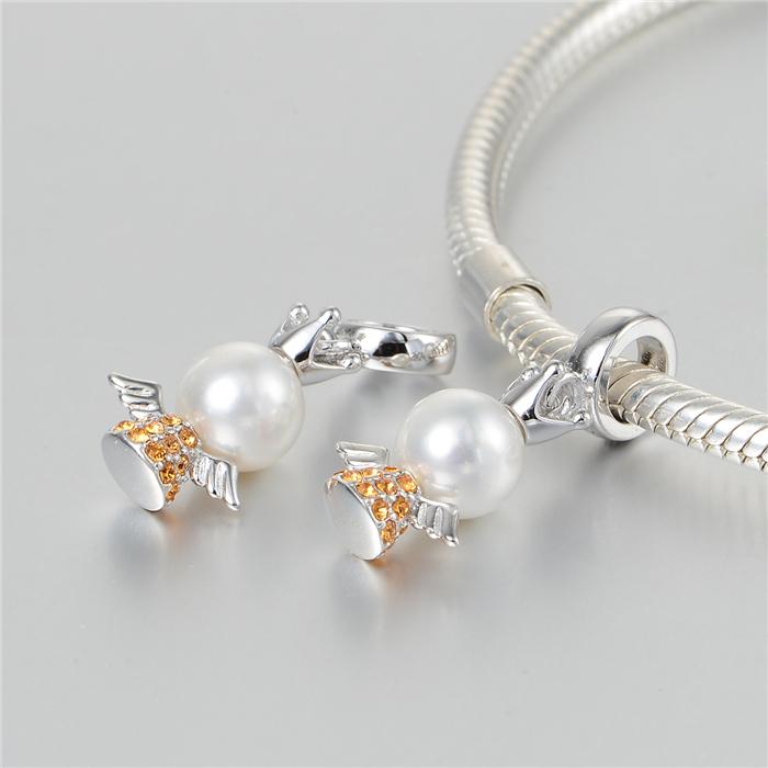 s925纯银镶钻珍珠 可爱小天使吊坠翅膀银珠