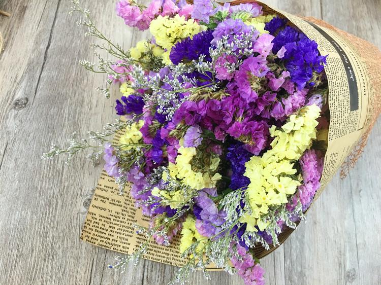 【勿忘我水晶花雏菊满天星英文纸包装花束情人节生日