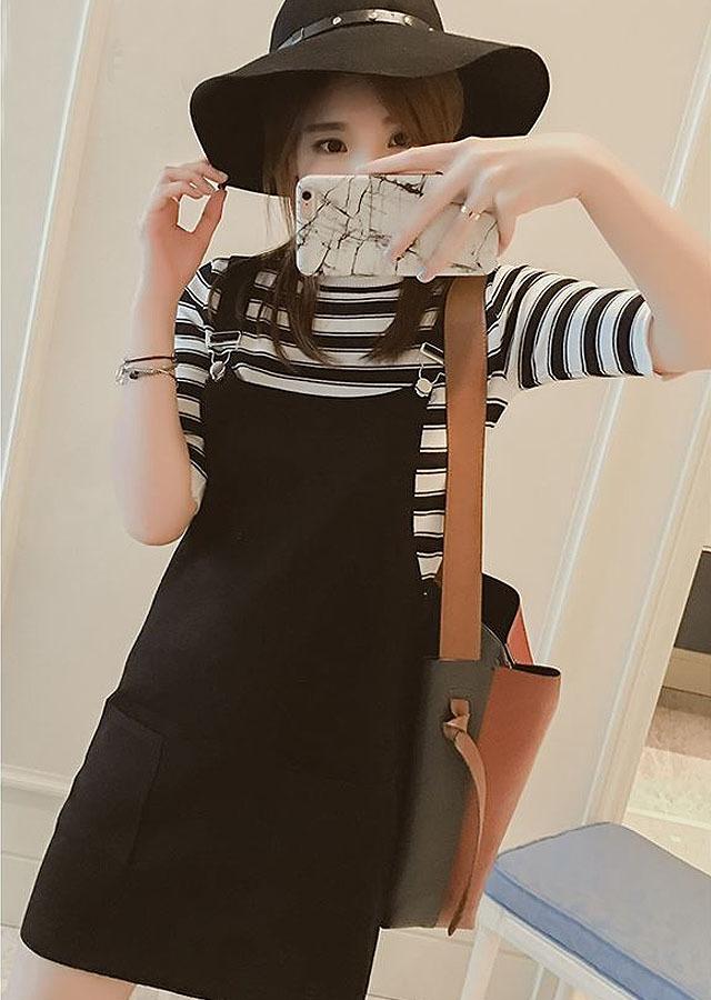 【韩版插袋学生背带裙】-衣服-裙子