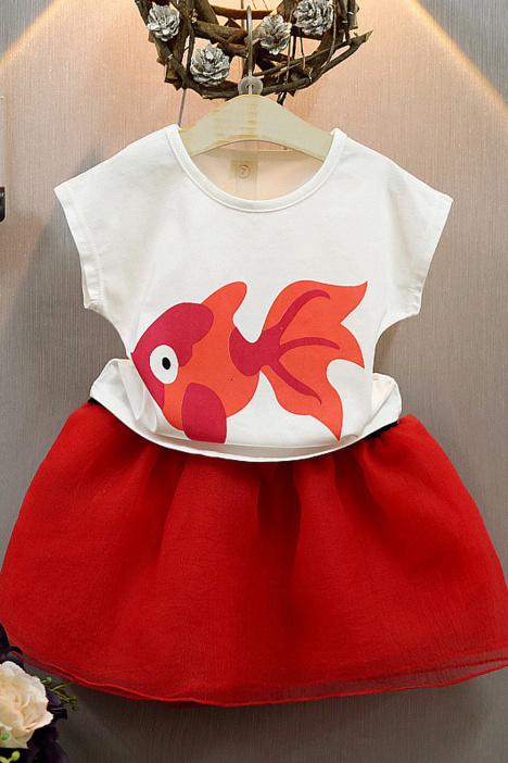 【【贝儿】小金鱼女童宝宝裙子套装蝴蝶结儿童纱裙】