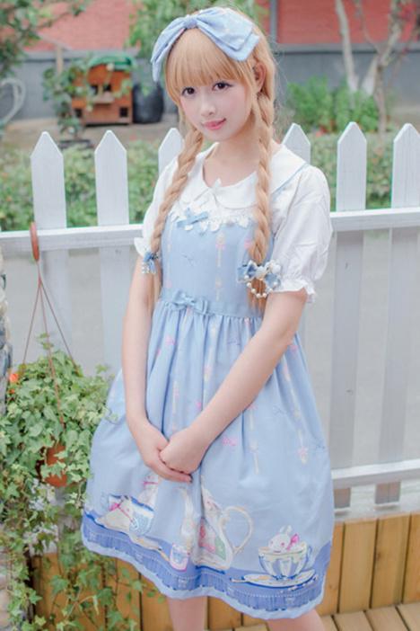 软妹lolita茶杯兔花柄超可爱印花连衣裙