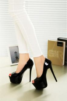 欧美风15cm高跟鞋夜店细跟鱼嘴鞋超高跟性感细跟恨天高$116.2-裸