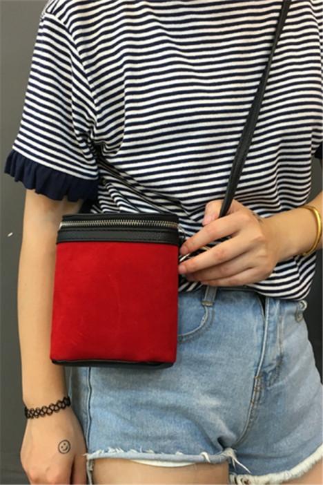 红色圆桶小包 复古迷你手机包拉链水桶包单肩包斜挎包