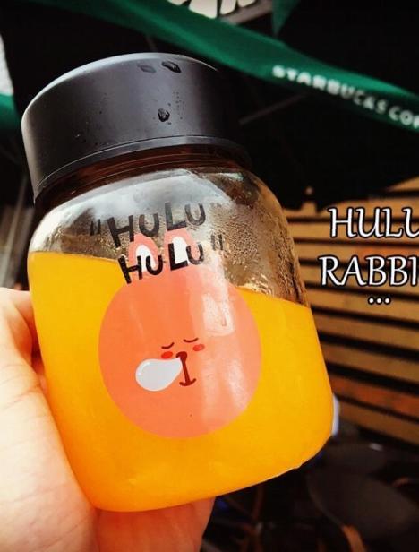 【韩国个性卡通诶胖兔子大熊玻璃水瓶女士萌萌动物】