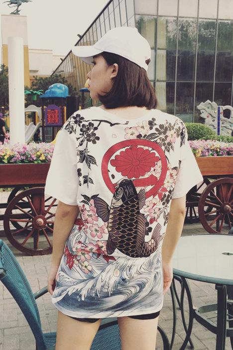 宽松,复古,日系,鲤鱼,刺绣