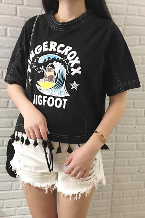 【宽松印花黑色流苏花边小短款女t恤】-衣服-服饰鞋