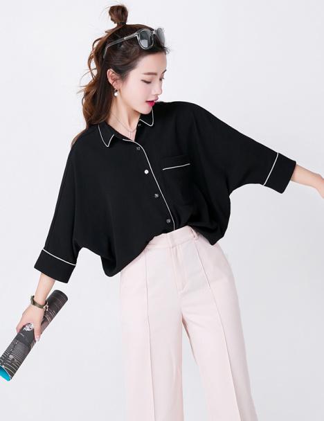 2017春夏新款睡衣风宽松打底衬衫女韩版蝙蝠七分袖雪纺衫衬衣