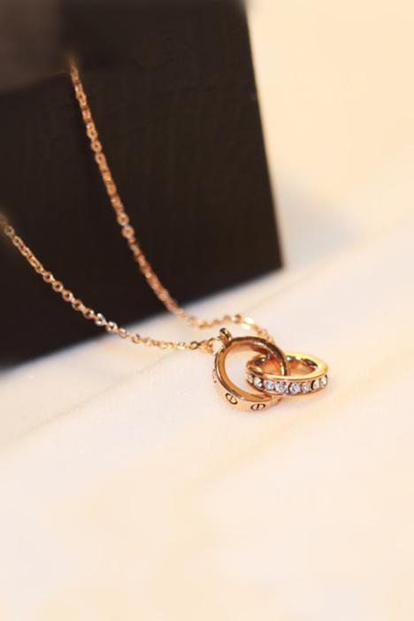 韩国经典款时尚气质双环戒指项链 18k玫瑰金彩金韩版锁骨链女