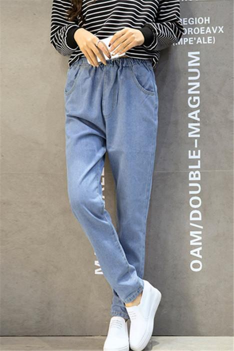 【韩版学生宽松松紧带牛仔长裤】-衣服-裤子