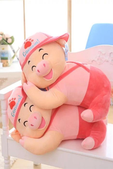 【毛绒玩具猪布娃娃可爱大号睡觉抱枕公仔趴趴猪猪】