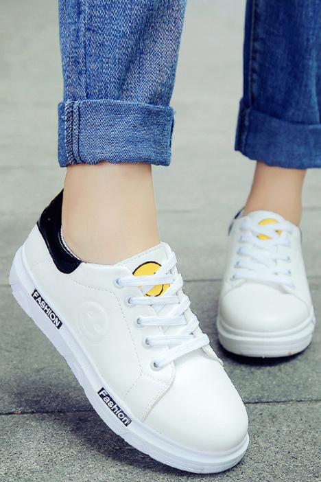 【韩版系带可爱笑脸小白鞋】-鞋子-女鞋