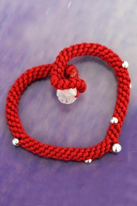 卡铂莱99足银饰品韩版编织红绳金刚扣女款 串珠手链 时尚手绳