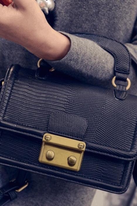 欧美时尚蛇纹小方包2015女包冬季新款潮压花锁扣单肩包斜挎小包包