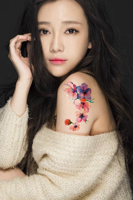【拍1送10】小碎花时尚性感防水纹身贴纸 古装写真刺青贴