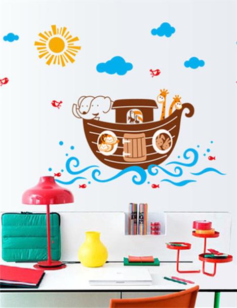 【【送小礼品】幼儿园儿童防水可爱卡通海盗船装饰墙-