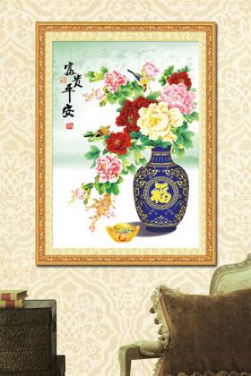 新款丝带绣客厅卧室走廊挂画3d十字绣蓝色花瓶太阳菊小