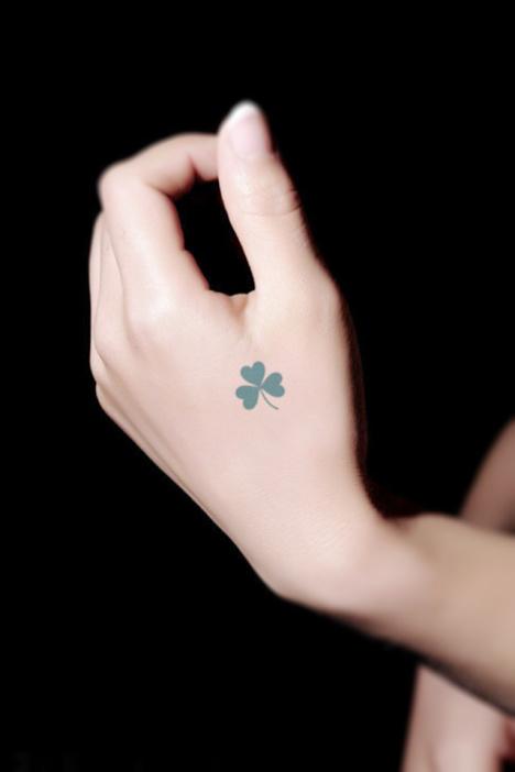 【10张混装】小清新防水纹身贴幸运四叶草创意文艺纹身贴图片