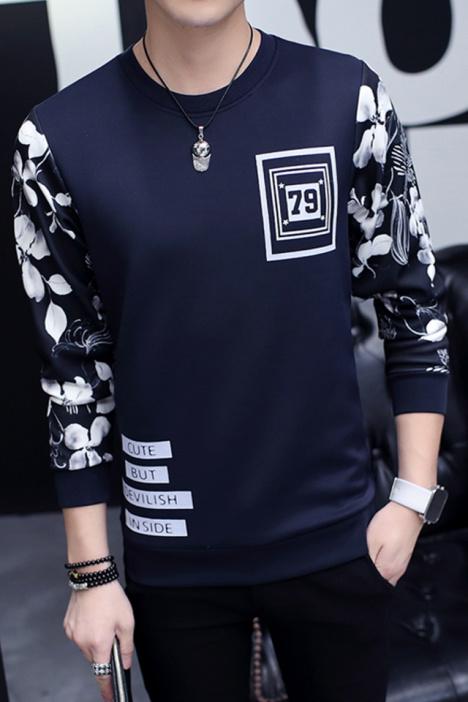 【豆瓣社】秋季新款时尚韩版花纹卫衣男