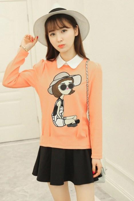 秋季小衫女�_秋季小衫女韩版潮女装宽松显瘦上衣带领长袖打底衫外穿假两件t恤