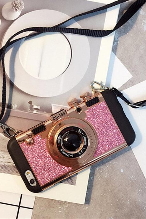 新款韩国苹果6plus/5s创意闪粉照相机挂绳手机壳