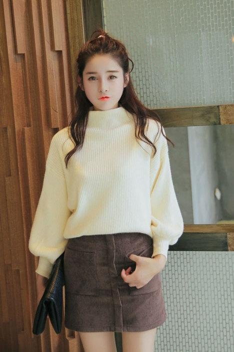 新款韩版时尚小高领灯笼袖毛衣打底衫