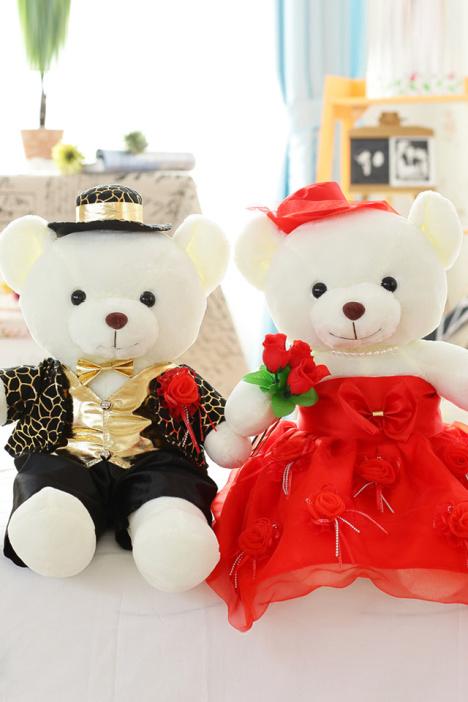 超可爱~情侣婚纱泰迪熊公仔 压床娃娃一对 结婚礼物