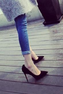 职业气质单鞋8cm细跟侧空黑色高跟鞋$59.89-vov高跟鞋眼线笔