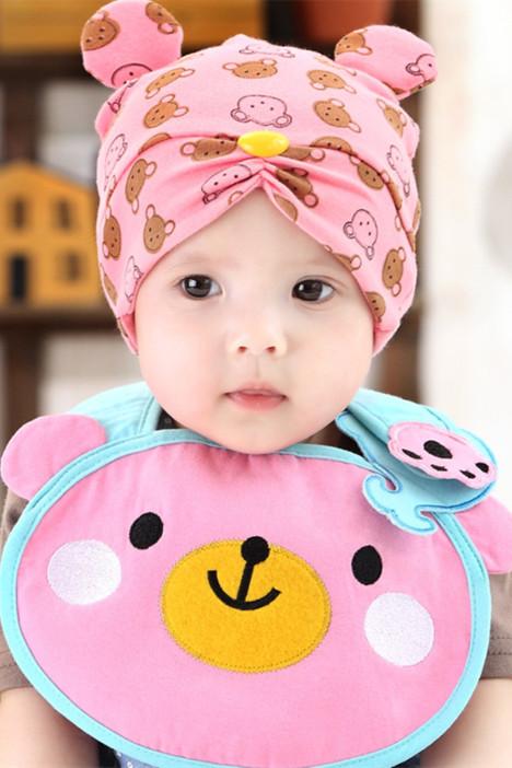 公主妈妈新生儿双耳小熊睡眠帽宝宝胎儿帽防水围兜套装