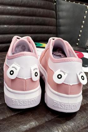 婷琪公主韩版春秋季新款可爱笑脸小白鞋厚底帆布鞋女