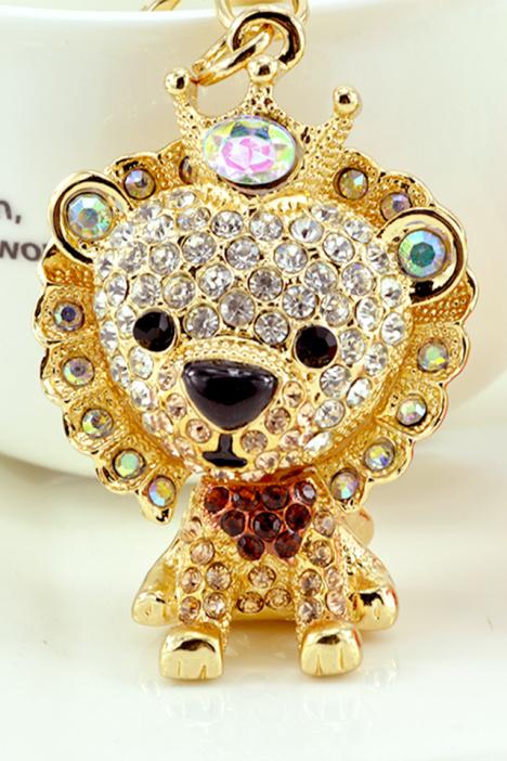 韩国镶钻森林之王高傲可爱狮子汽车钥匙扣圈包链挂件饰品