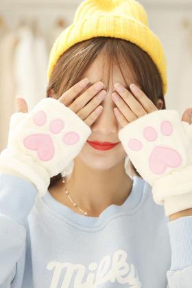 韩版可爱猫咪爪半指手套女冬季保暖毛绒青少年学生情